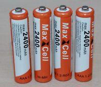 4 x AAA Aufladbare Batterien Akku Accu Batterie MaxCell 2400 mAh R03 1.2V NI-MH