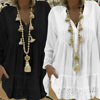 Women Oversize Beach Club Party Tunic Button Up Top Tee Shirt Floral Lace Blouse