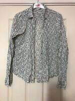 White Stuff White Blue Shirt Size 12 Women Long Sleeve Great Condition (F218)