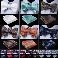 Mens Silk Floral Paisley Self Bow Tie Jacquared Bow Ties Handkerchief Set#J01