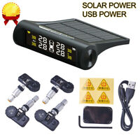 Wireless Solar TPMS Car Tire Pressure Monitoring System W/ 4 Sensors LCD Display