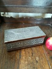 A Lovely Arts And Crafts Repousse Pewter And Pine Jewel Box