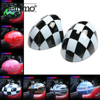 Checkered Car Door Side Mirror Cover Cap For MINI Cooper R55 R56 R57 R58 R60 R61