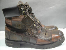 MENS 10.5 M TIMBERLAND WATERPROOF PREMIUM PATCHWORK BROWN LEATHER HIKING BOOTS