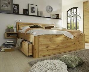 Massivholz Schubladenbett 180x200 49 cm hoch Kiefer gelaugt/geölt 2x2 Schubladen
