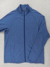 Ibex 100% Wool Full Zip Jacket Sweater (Mens XL) Blue