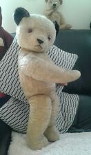 """Antique Chad valley English 25"""" large jointed mohair teddy bear sooty style"""