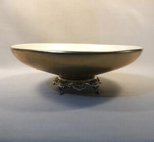PV05212 Vintage Haeger USA 22K Hollywood Regency Footed #790 Succulent Bowl