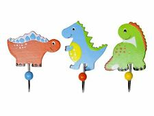 Mousehouse Set of 3 Dinosaur Single Wooden Coat Hooks for Boys Nursery Bedroom