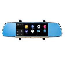 "7""Android 4.4 GPS 1080P Car Bluetooth DVR Rearview Mirror Monitor+Backup Camera"