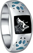 Men's Southwest Turquoise Gem Wolf Claw and Wolf Head Silver Ring size 8