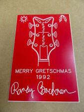 """Randy Bachman of Bto """"Merry Gretschmas 1992"""" Christmas Card Plaque."""