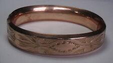 ANTIQUE ENGRAVED DESIGN BANGLE BRACELET GOLD FILLED