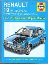 RENAULT 19 Inc. Chamade 1989-1994 (F-M) BENZINA Haynes assistenza e riparazione manuale