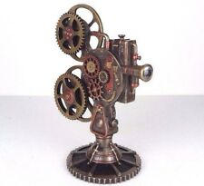 "Steampunk Projector with Led Light Bronze Figurine 9.5""H New"