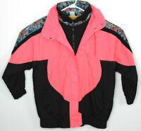 Vtg 80s Climate Zone Womens Pink Black Color Block Geometric Puffer Jacket Sz M