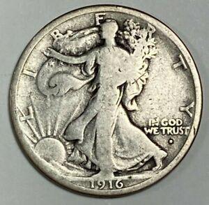 1916 D Very Good VG Walking Liberty Silver US Half Dollar 50C