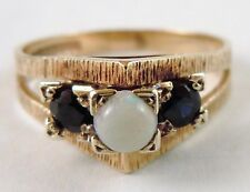100% Genuine Antique 9ct. Solid Yellow Gold Opal and  Sapphire Ring Size 7.5US