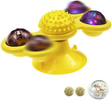 New listing Windmill Cat Toy Interactive Rotating Turntable Teasing Toys With Flash Lights C
