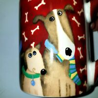 Dogs Bones Paw Prints Coffee Mug Cup Gibson Ceramic  Debi Hron 2006