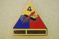 US USA Army 4th Armored Division Military Hat Lapel Pin