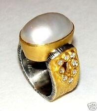 24K Gold, Genuine Diamond & Mabe Pearl Ring size 5.5