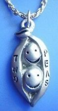 LOOK Cute two peas in a Pod Real Sterling Silver 925 Charm Jewelry Pendant  New