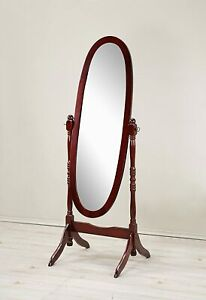 Roundhill Furniture Traditional Queen Anna Style Wood Floor Cheval Mirror,cherry