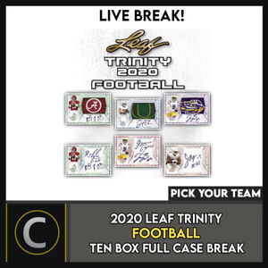 2020 LEAF TRINITY FOOTBALL 10 BOX (FULL CASE) BREAK #F557 - PICK YOUR TEAM