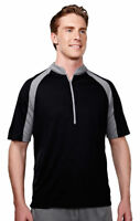 Tri-Mountain Men's Moisture Wicks Polyester Short Sleeve Half Zip T-Shirt. 048