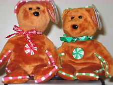 Ty Beanie Babies ~ SPEARMINT & PEPPERMINT Hallmark Holiday Bears ~ MWMT'S ~ RARE