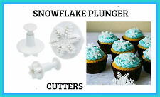 SNOW FLAKE- SET OF 3  PLUNGER CUTTERS ..PERFECT FOR FONDANT GUMPASTE.. ECT