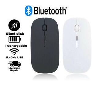 Rechargeable Mince Silencieux 2.4GHz USB Sans Fil Souris Bluetooth Noir Blanc