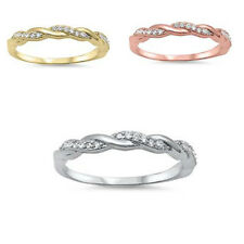 CZ Braided Infinity Anniversary & Wedding Promise 925 Sterling Silver Ring