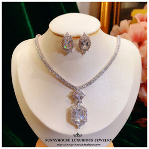 Fashion White Clear Crystal Wedding Set Necklace + Earrings for Banquet