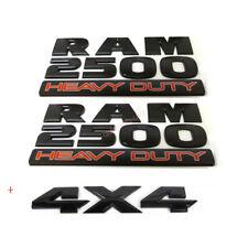 3x OEM Black RAM 2500 HEAVY DUTY  Plus 4x4 Dodge  Emblem Badge 3D Y Mopar Matte