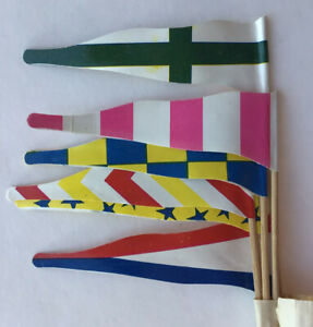 """6 Vintage English Toy Sand Castle Flags Beach Play Old World Designs 4"""" X 3"""""""
