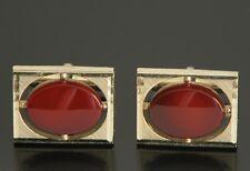 Vtg 70s SWANK Cufflinks Dark Red Tone Stone Jeweled Bling Hipster Gold