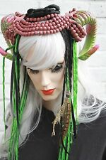 MALEFICENT green FAIRY RAM HORN FAUN HORNED FLOWER CROWN HEADBAND CYBER GOTH
