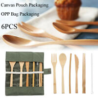 Bamboo Cutlery Travel Eco-friendly Fork Chopsticks Spoon Straw Prtical Set 6Pcs