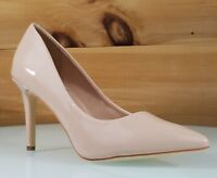"Mac J Beige Nude Patent Slip On 3.5"" High Heel Shoes Pointy Toe Pump 7-11"