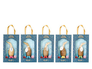 DCUK dinky ducks with painted spotty welly boots and name tags,  boxed, 11cm