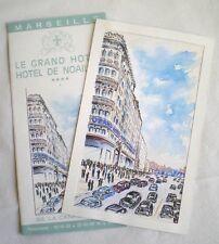 AQUARELLE ORIGINALE PUB HOTEL DE NOAILLES MARSEILLE VERS 1950/60
