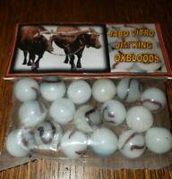 """Vintage JABO VITRO Marbles Sealed Package Bag of Jim King Oxblood 5/8"""""""