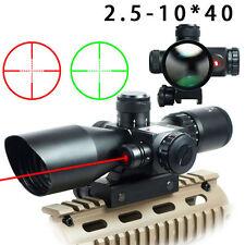 Rifle Gun 2.5-10x40 Rifle Scope Red Laser Dual illuminated Mil-dot w/ Rail