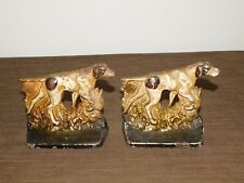 Vintage Cast Iron Metal Pointer Foxhound Hunting Dog Book Ends