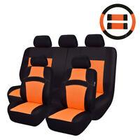 CAR PASS 11PCS Washable Sandwich Orange Car Seat Covers for 40/60 50/50 60/40