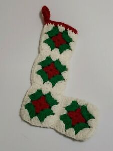 Vintage White, Green, & Red Crocheted Granny Square Small Christmas Stocking