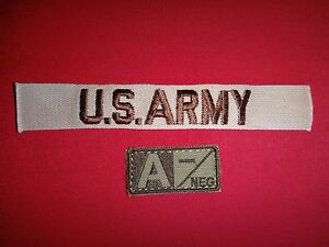 2 Unused Subdued Patches: Military Blood Type A- Negative + US ARMY Pocket Tape