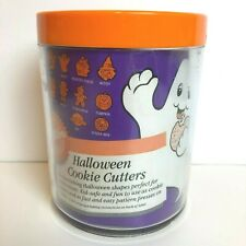 Vintage 1989 Wilton Halloween Shapes Cookie Cutter 10 Piece Set With Canister